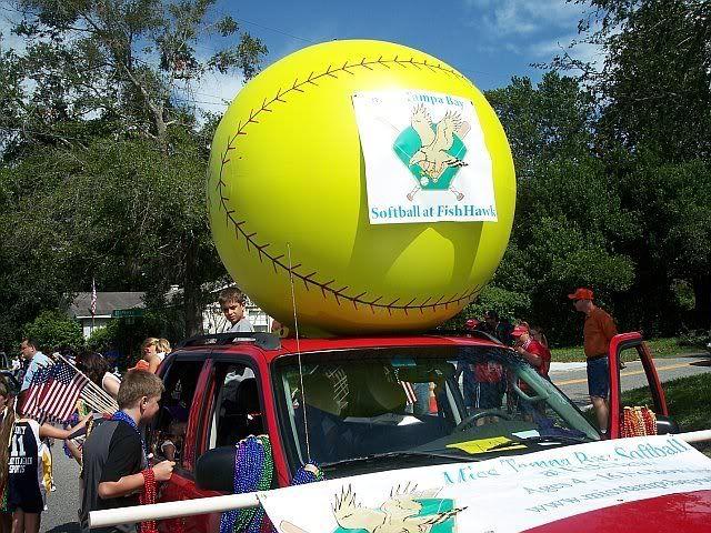 Giant Softball For Parade Float All The Softball Girls Got To