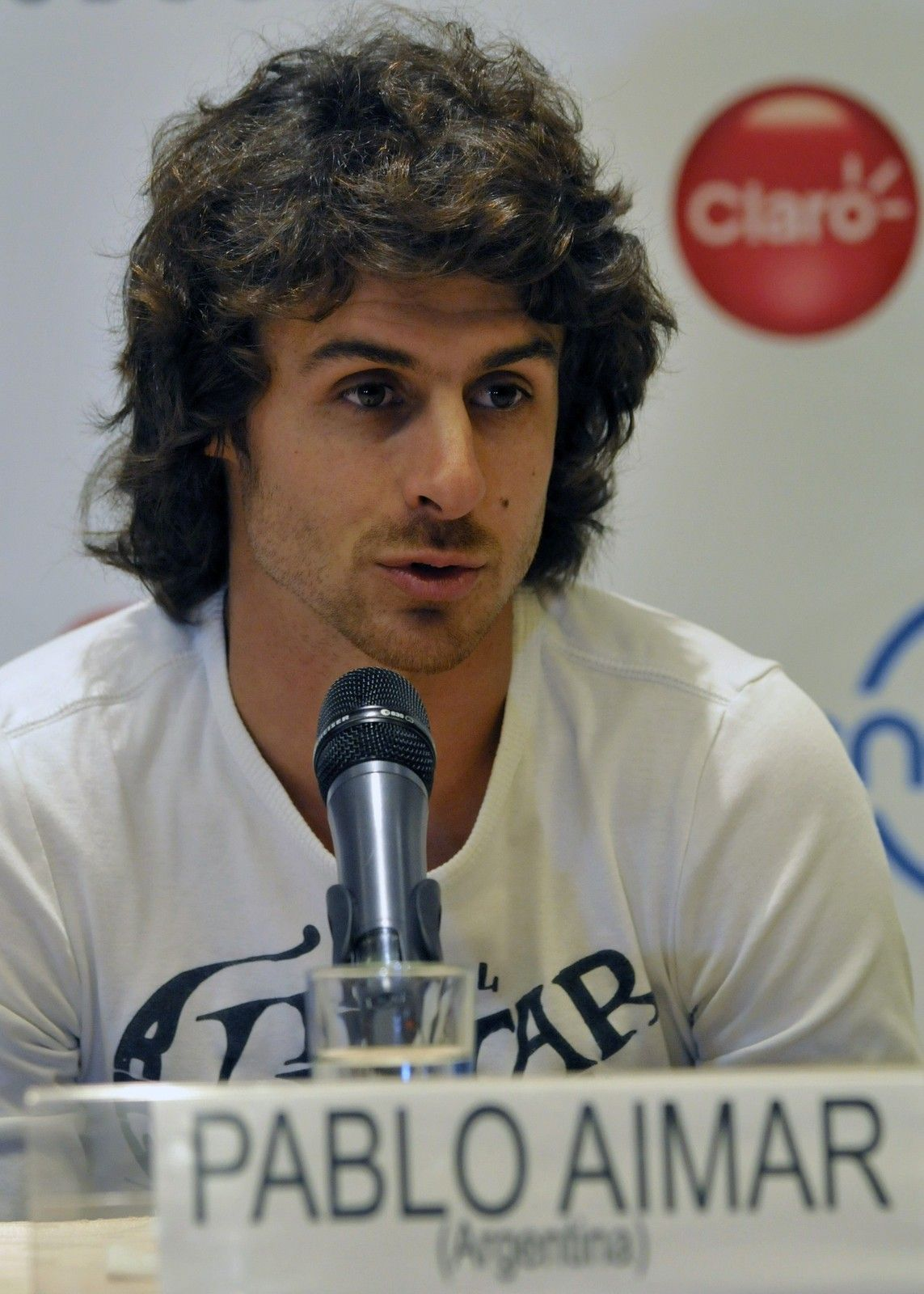 Argentine footballer Pablo Aimar speaks during a press conference on July 1, 2013 in Lima, Peru, on the eve of the exhibition game between Argentine Lionel Messi and friends' team and Brazilian idol Neymar's team.