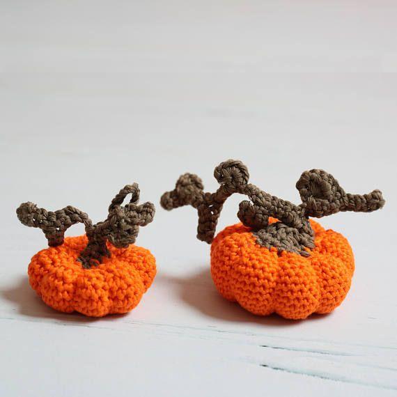 Halloween decor Crochet pumpkin Halloween decorations 2 Pcs Crochet ...