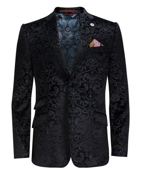 Velvet pattern jacket - Black   Blazers   Ted Baker UK ...