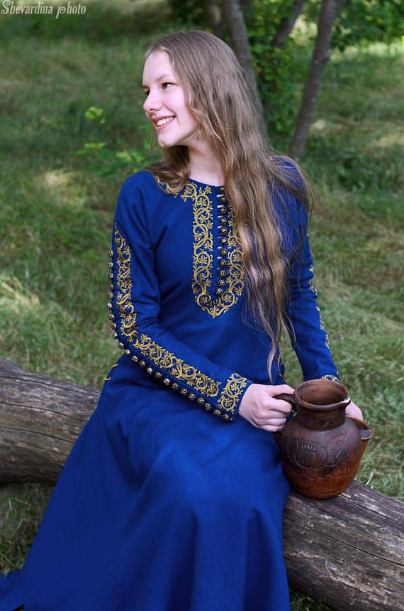 Medieval dress/Elven dress/Costume party/Games of thrones/Blue ...