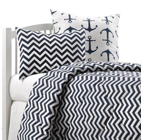 Chevron Nautical Twin Toddler Bedding