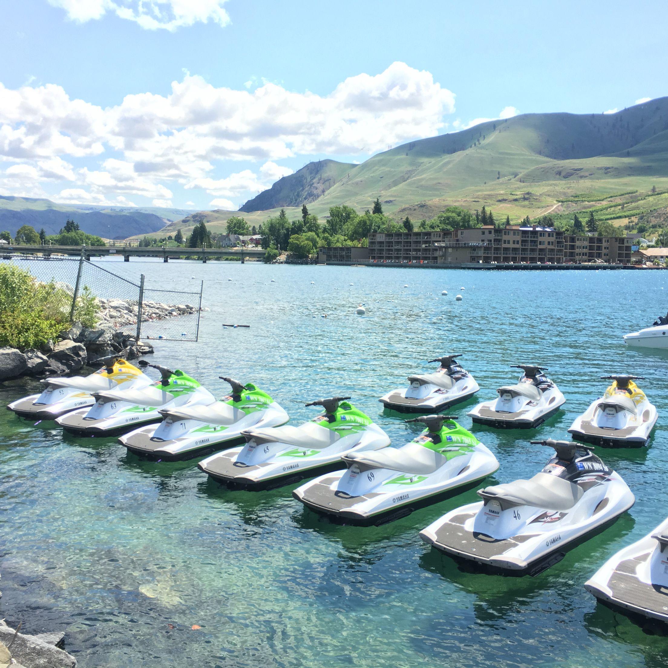 Jet ski time on lake chelan at shoreline watercraft boat