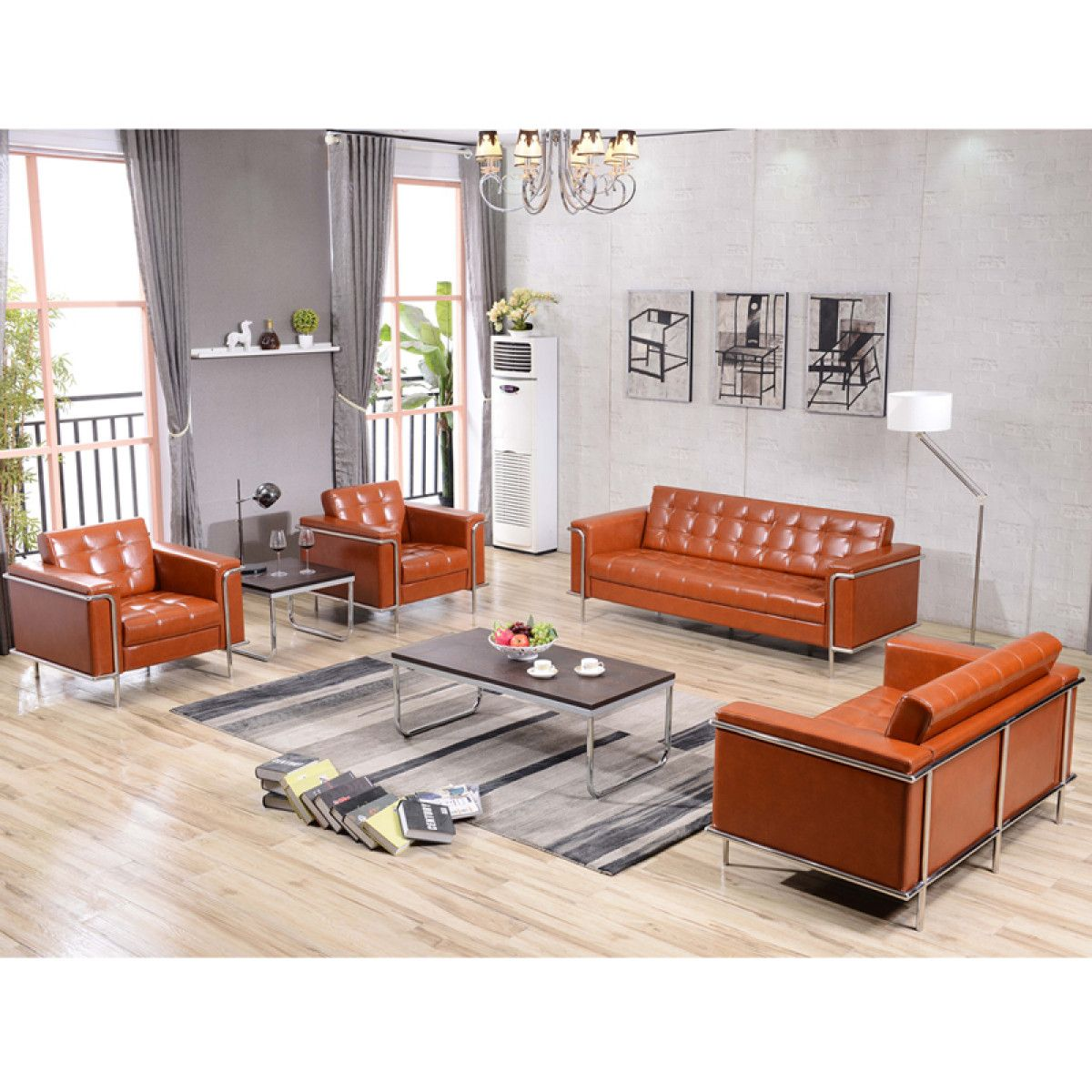 Best Hercules Lesley Series Contemporary Cognac Leather Chair 640 x 480