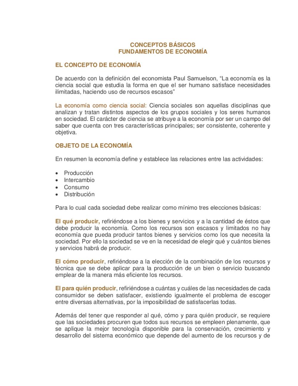 Conceptos Básicos De Economía Economia Ciencias Sociales Concepto
