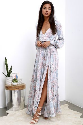 9d5f2a0a106d Feel the free love flowing as you hold up a peace sign in the Psyche-Dahlia  Blue and Pink Floral Print Maxi Dress! Pastel floral print in shades of blue