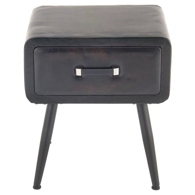 Decmode Faux Leather End Table With Drawers 55784 End Tables