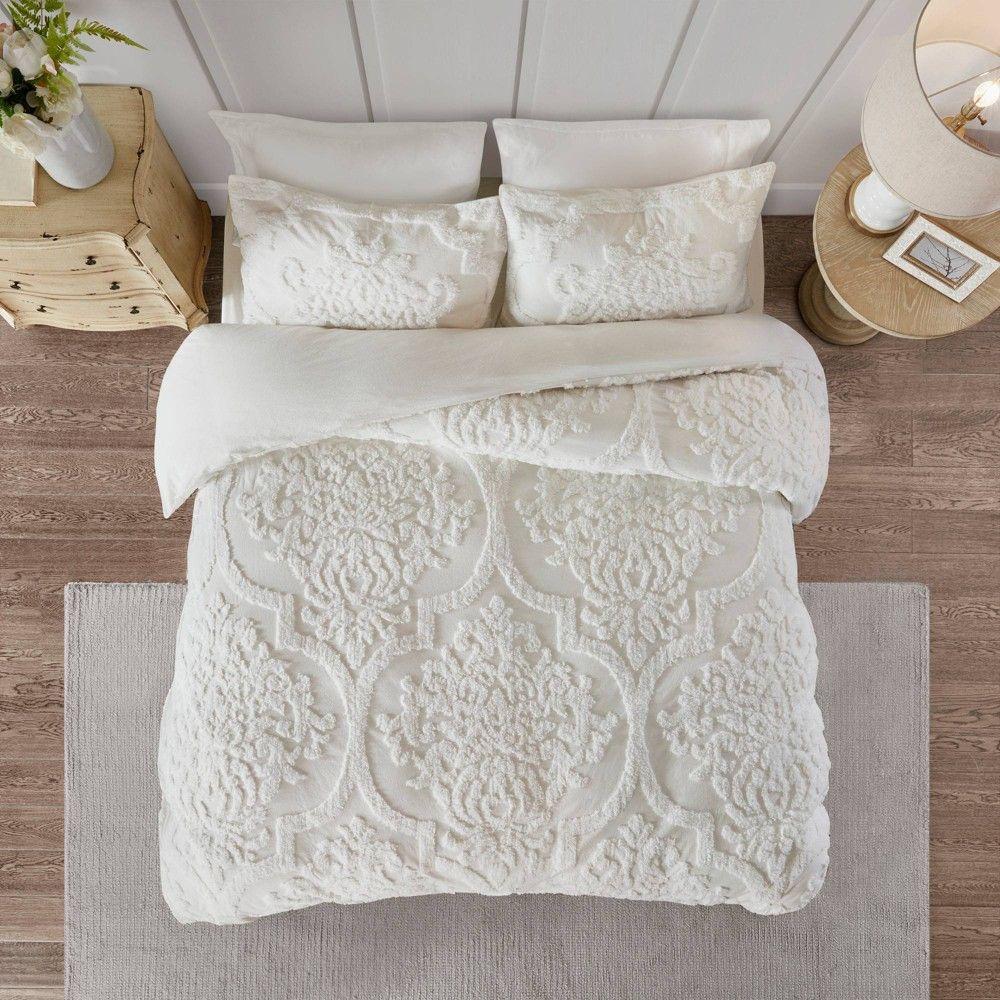Eugenia Full Queen 3pc Tufted Chenille Duvet Cover Set White