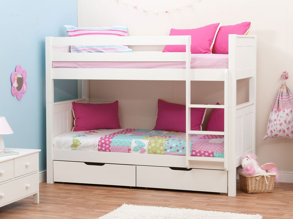 Stompa Classic Kids White Girls Bunk Bed Stompa Bunk Beds