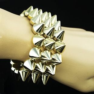 CN05 Three rows of rivets punk bracelets, shop at Costwe.com