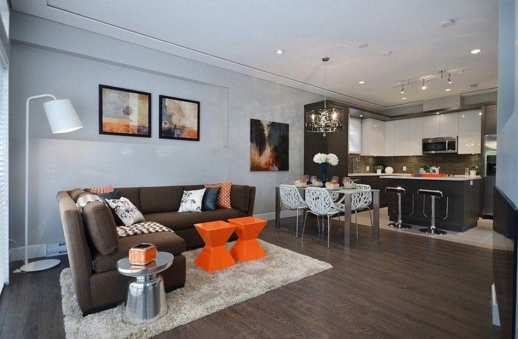 Hervorragend Farbkombination Braun Grau Offener Wohnraum Orange Deko #brown #interior