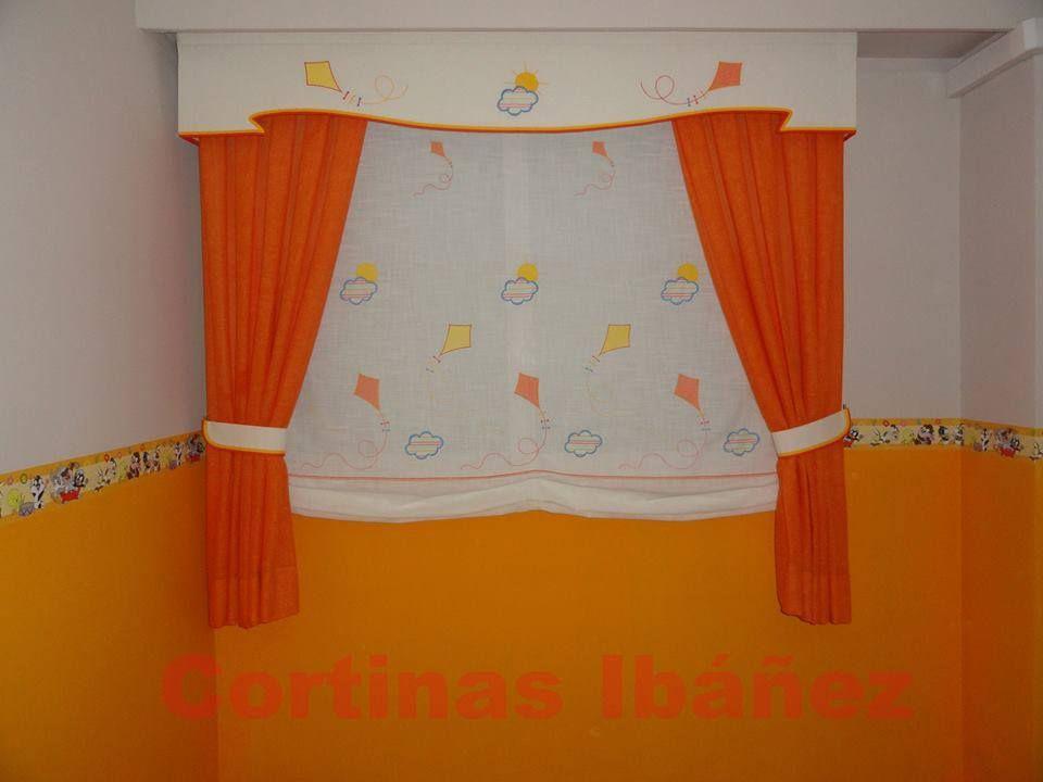 Estor paqueto en visillo bordado infantil con ca das en - Estor con cortina ...