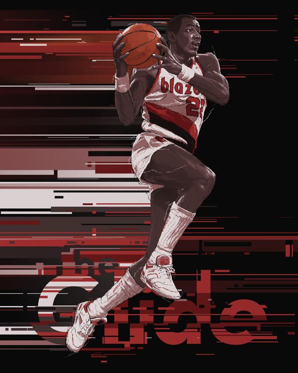 Blazers Portland Posters: The Glide, Portland Trail Blazers Clyde Drexler, By Gabz