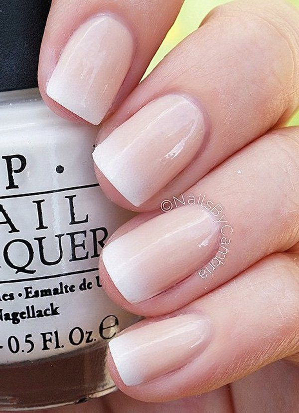 Gradient inspired nude nail art design. The gradient from nude polish to white on the tips is simply stunning and makes the hand glow so much more.
