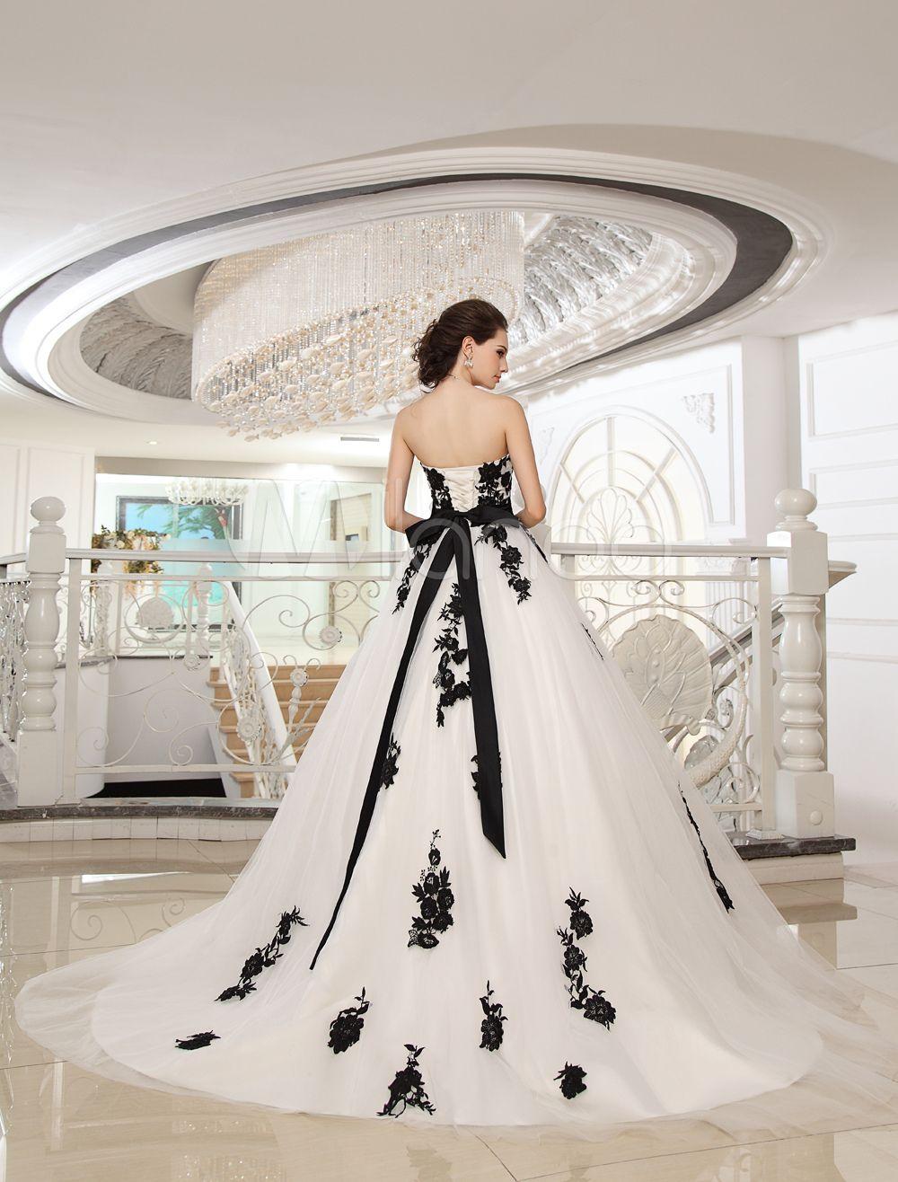 Wedding Dresses Strapless Black Bridal Gown Lace Applique Flowers Sash Beaded Court Train Ivory Tull Black Wedding Dresses Wedding Dresses Ebay Wedding Dresses [ 1316 x 1000 Pixel ]