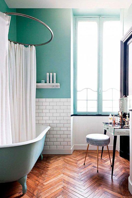 Herringbone Wood Floors In A Colorful Teal Bathroom