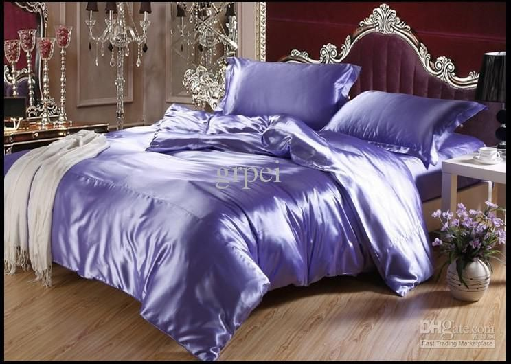 Purple Blue Mulberry Silk Satin