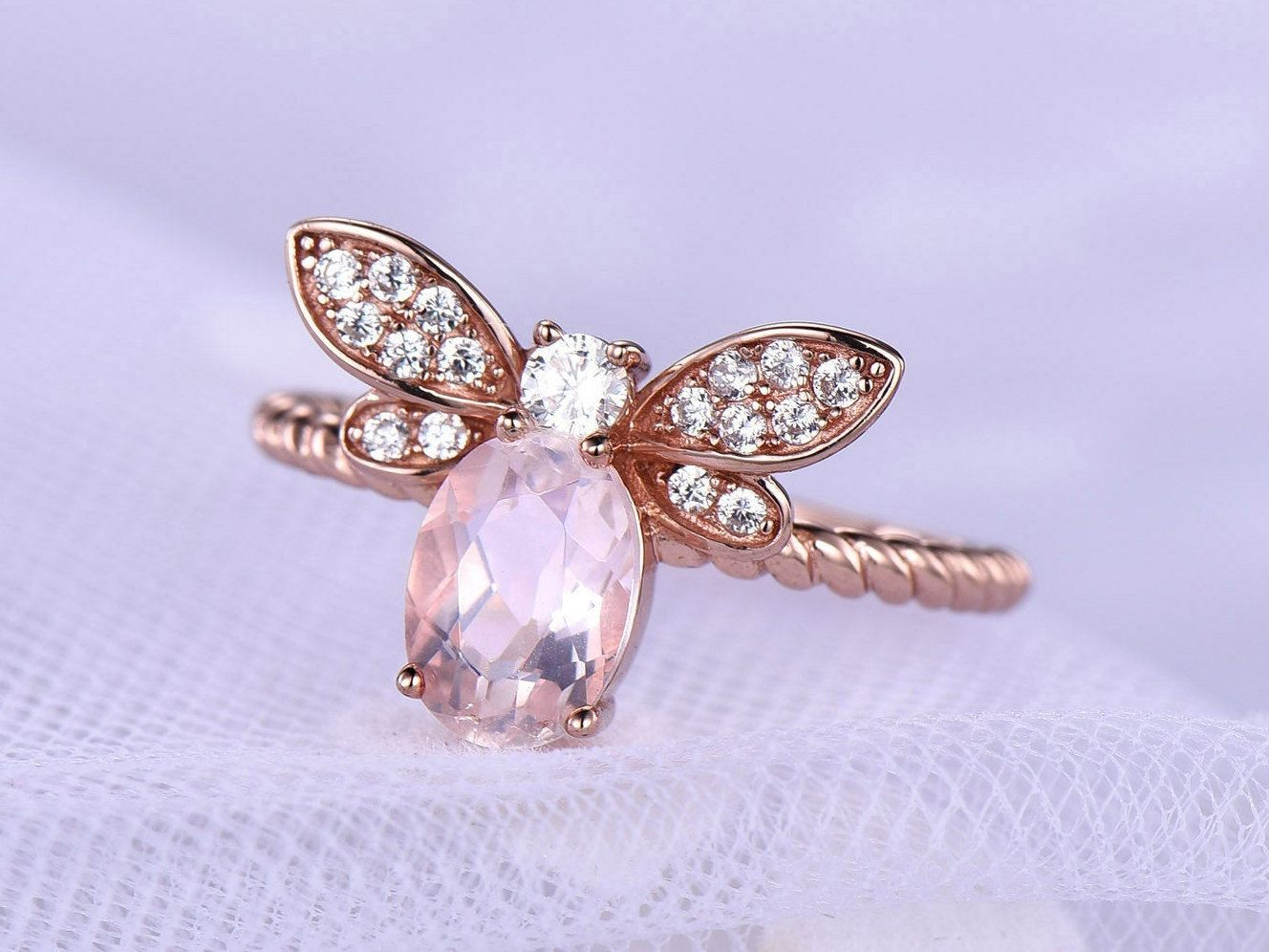 Unique Engagement Ring Rose Gold Butterfly