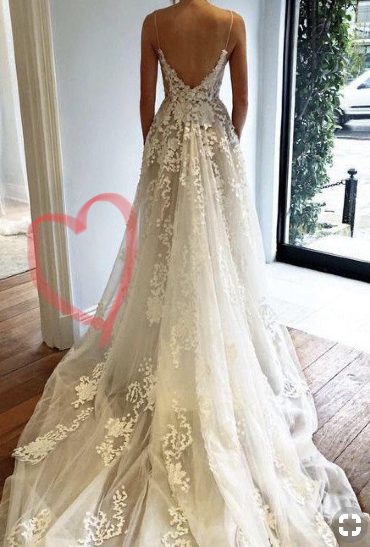 Lace spaghetti strap wedding dress  Deep V neck Wedding DressLace Wedding DressSpaghetti Straps Beach