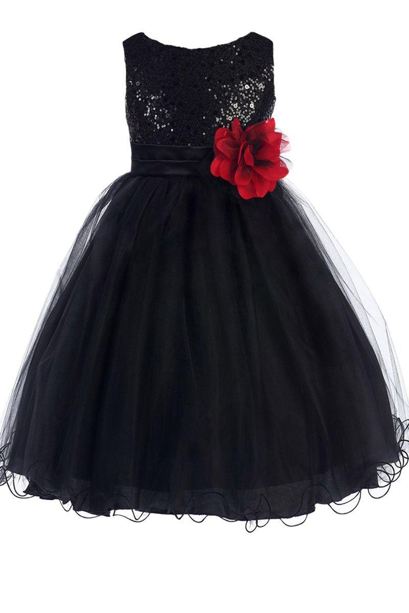 Girls nude flower girl black dress