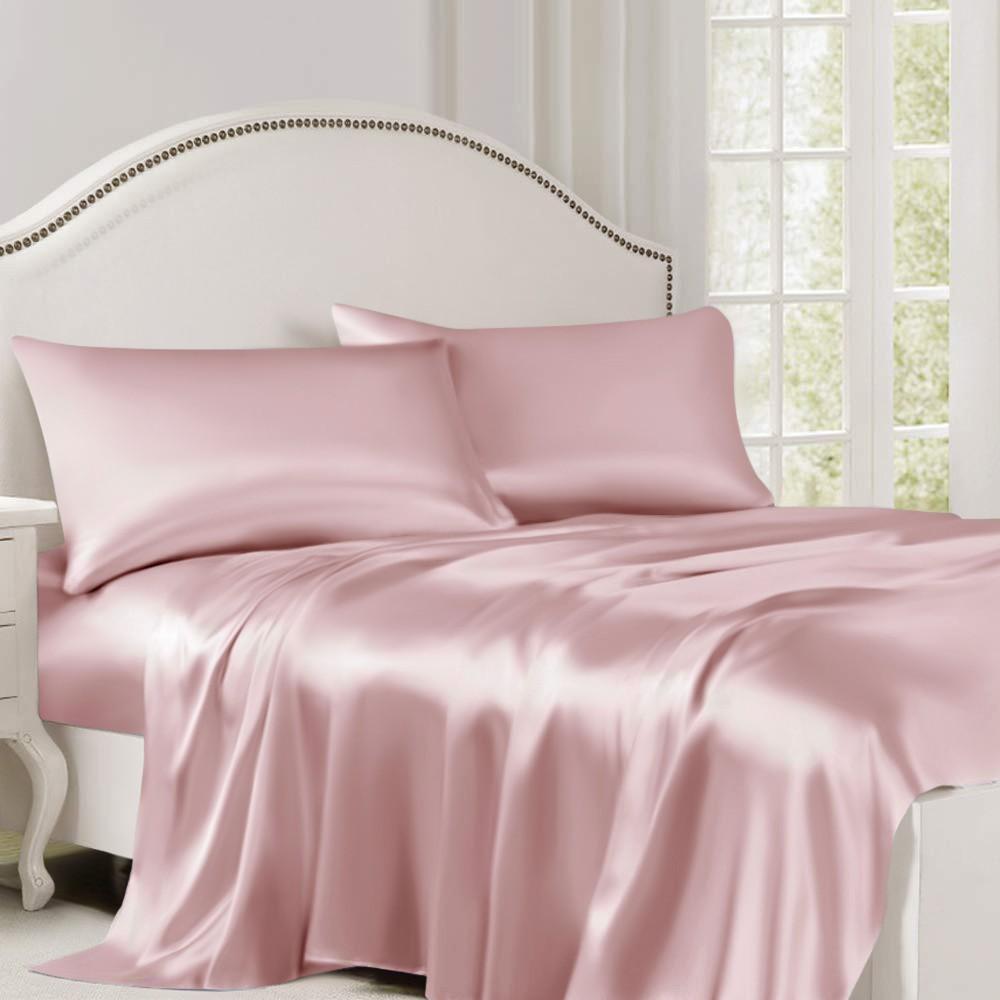 Suede Rose Silk Flat Sheet Silk bed sheets, Pink bed