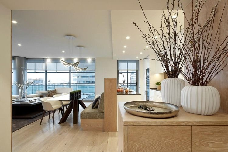 offene Planung - Wohnzimmer und funktionale Küche Esszimmer - kuche mit wohnzimmer modern