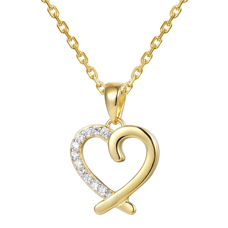 Designer k gold finish open heart love pendant set pendant set