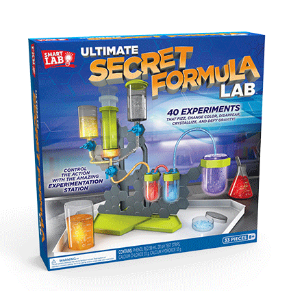 Ultimate Secret Formula Lab— Explore the secrets of science with the Experimentation Station! Includes a 32-page lab book with instructions for over 40 experiments that teach chemistry, fluid dynamics and pressure.