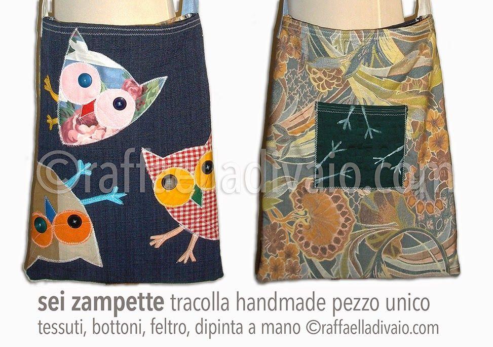 SeiZampette, una delle prime nate. Ritagli di stoffe, bottoni, nastri e fettucce, fili da ricamo, dipinto a mano. ZigZag: borsine in tessuto, tutte pezzi unici rigorosamente handmade. ©raffaelladivaio.com