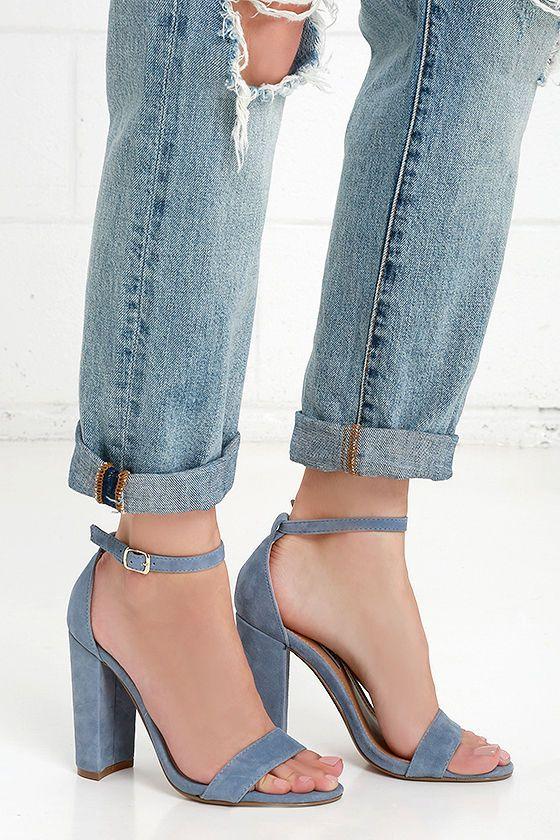 9b1de0d1488 Steve Madden Carrson Blue Suede Leather Ankle Strap Heels | shoes ...