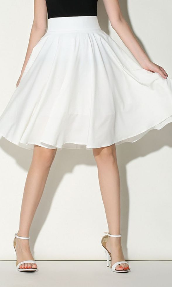 White High Waist Midi Skater Skirt