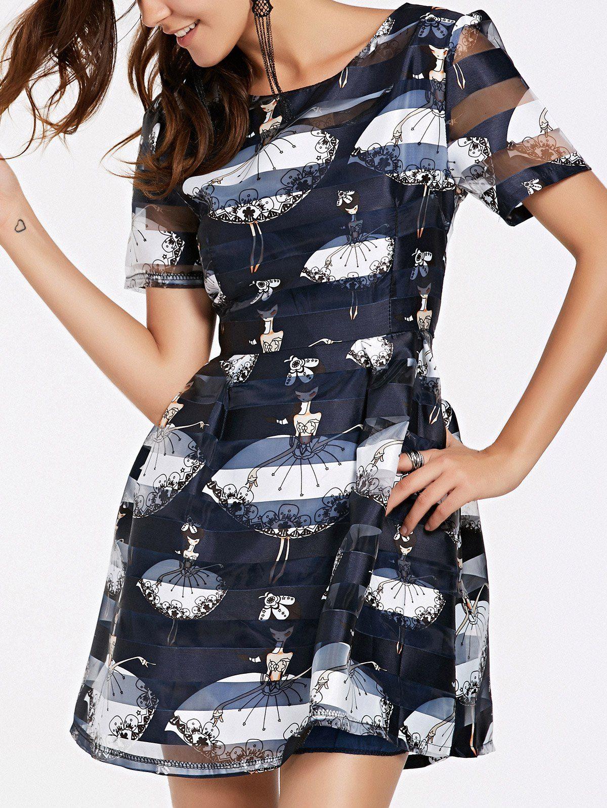 Elegant Girl Pattern Jewel Neck See Through Printed Dress For Women