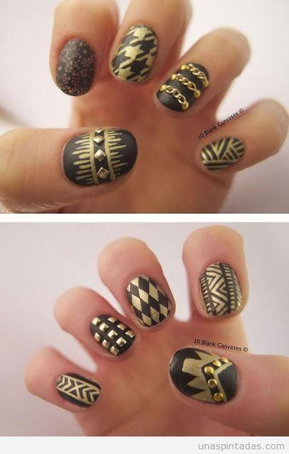 Black Gold Studs Lace Chain Nail Design 333 Nails Nail