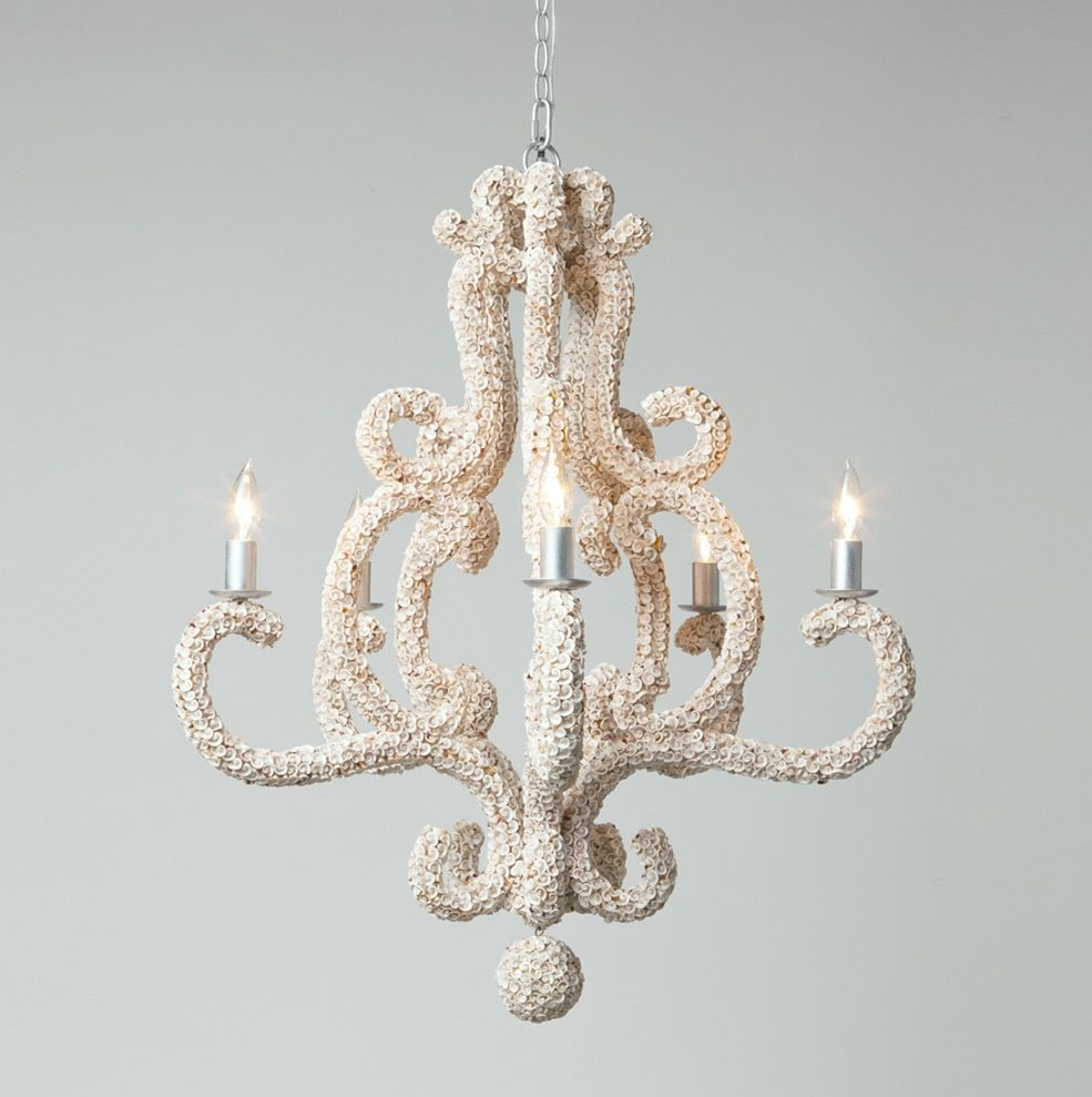 Oceana white shell chandelier mecox gardens shell chandelier oceana white shell chandelier with ball drop and 5 lights also available as oceana 10 light aloadofball Gallery