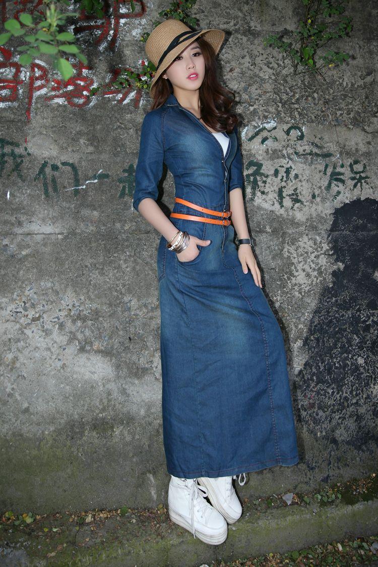 com cinto | vestidos jeans | Pinterest | Ladies jeans, Jeans dress ...