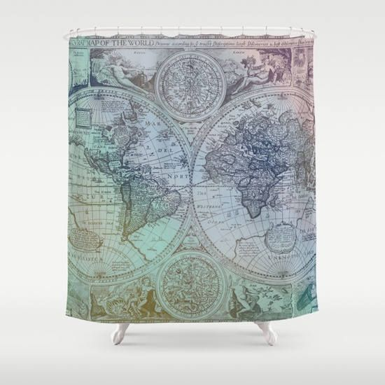 Colorful antique world map fabric shower curtain antique map colorful world map fabric shower curtain antique map gumiabroncs Image collections