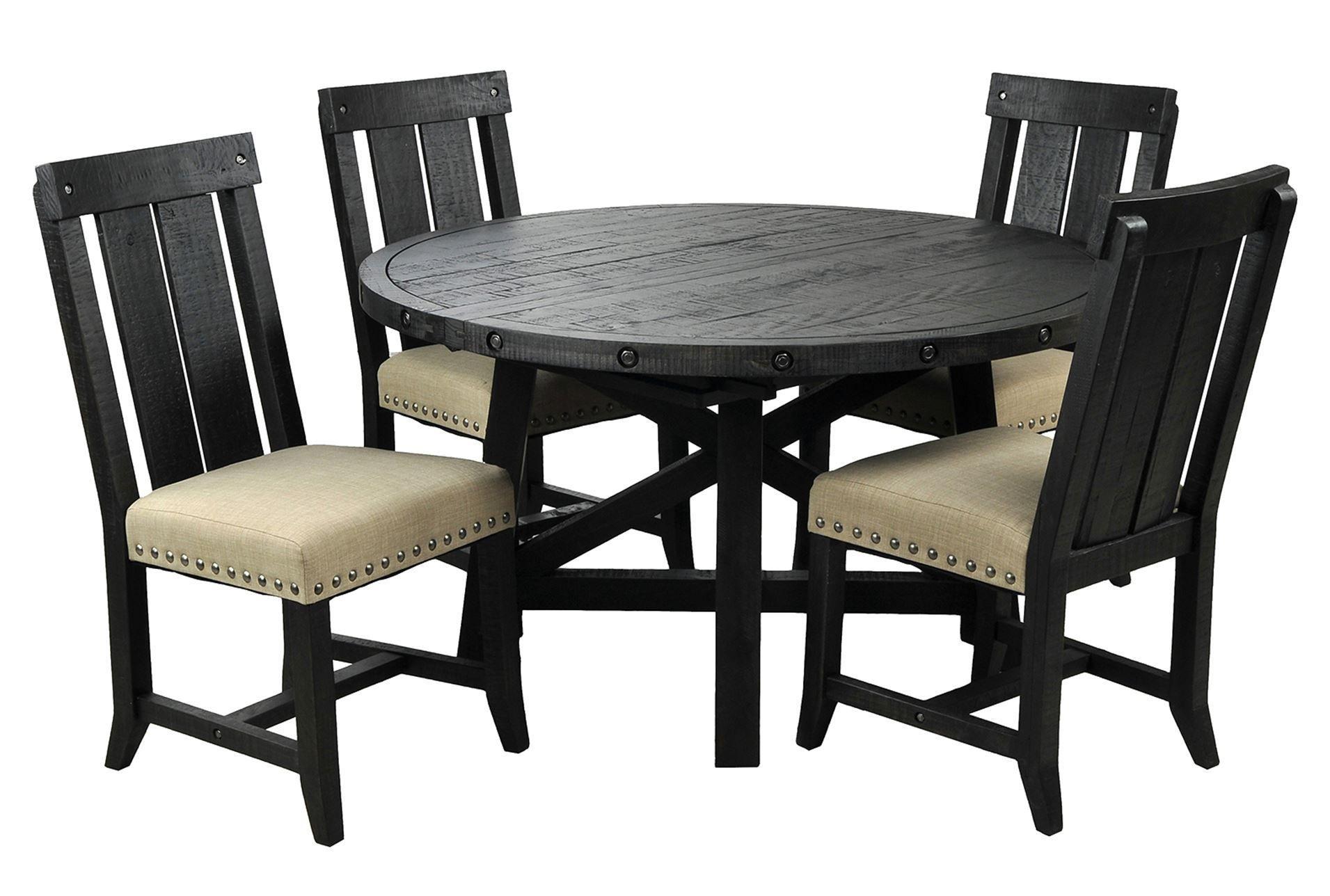 Jaxon 5 Piece Round Dining Set W Wood Chairs