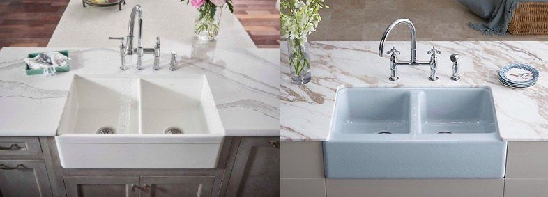 Farmhouse Kitchen Sinks Fireclay Vs Cast Iron Farmhouse Kitchen