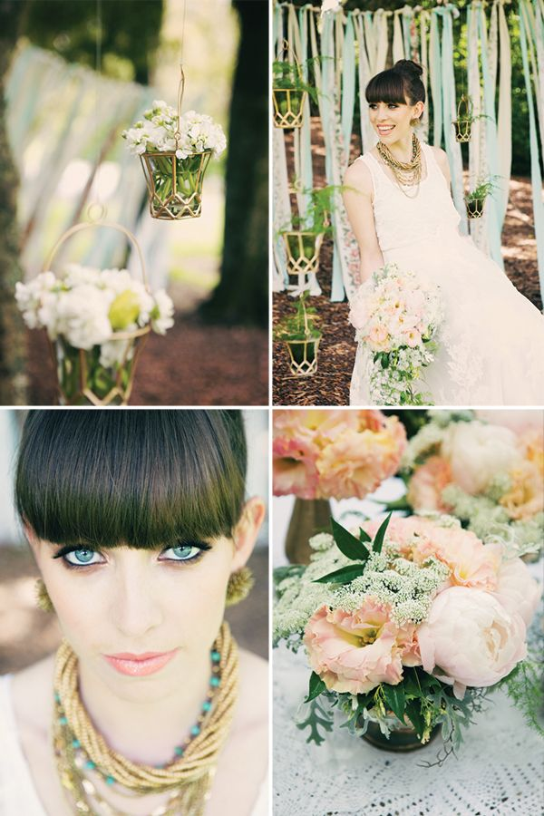 In love with these hanging flower pots. Magnolia Rouge: Spring pastels shoot by Katie O'Neill