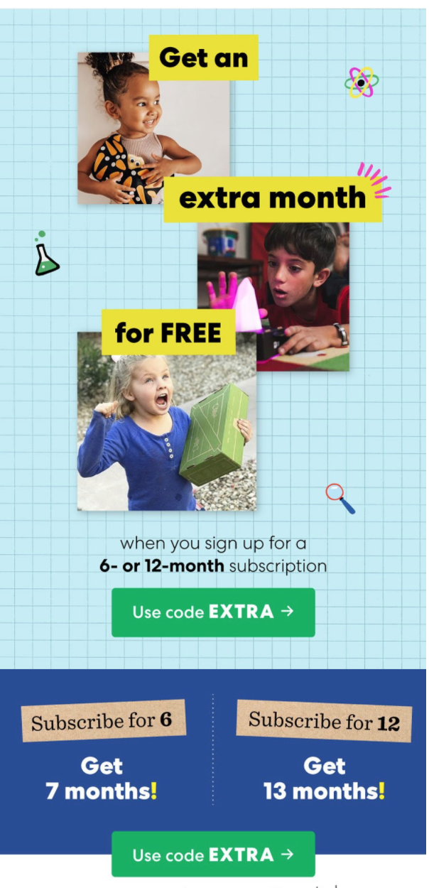 KiwiCo Sale One FREE Month with PrePaid Subscription