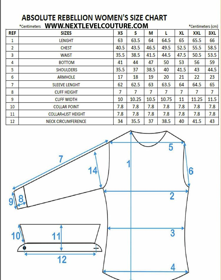 Absolute Rebellion Women Dress Shirt Measurement  Charts