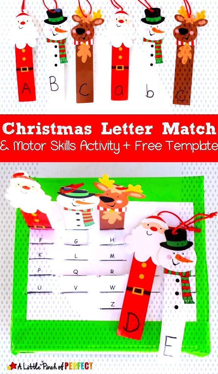Christmas Letter Match and Fine Motor Skills Activity and Free Template Your kids can practice lett