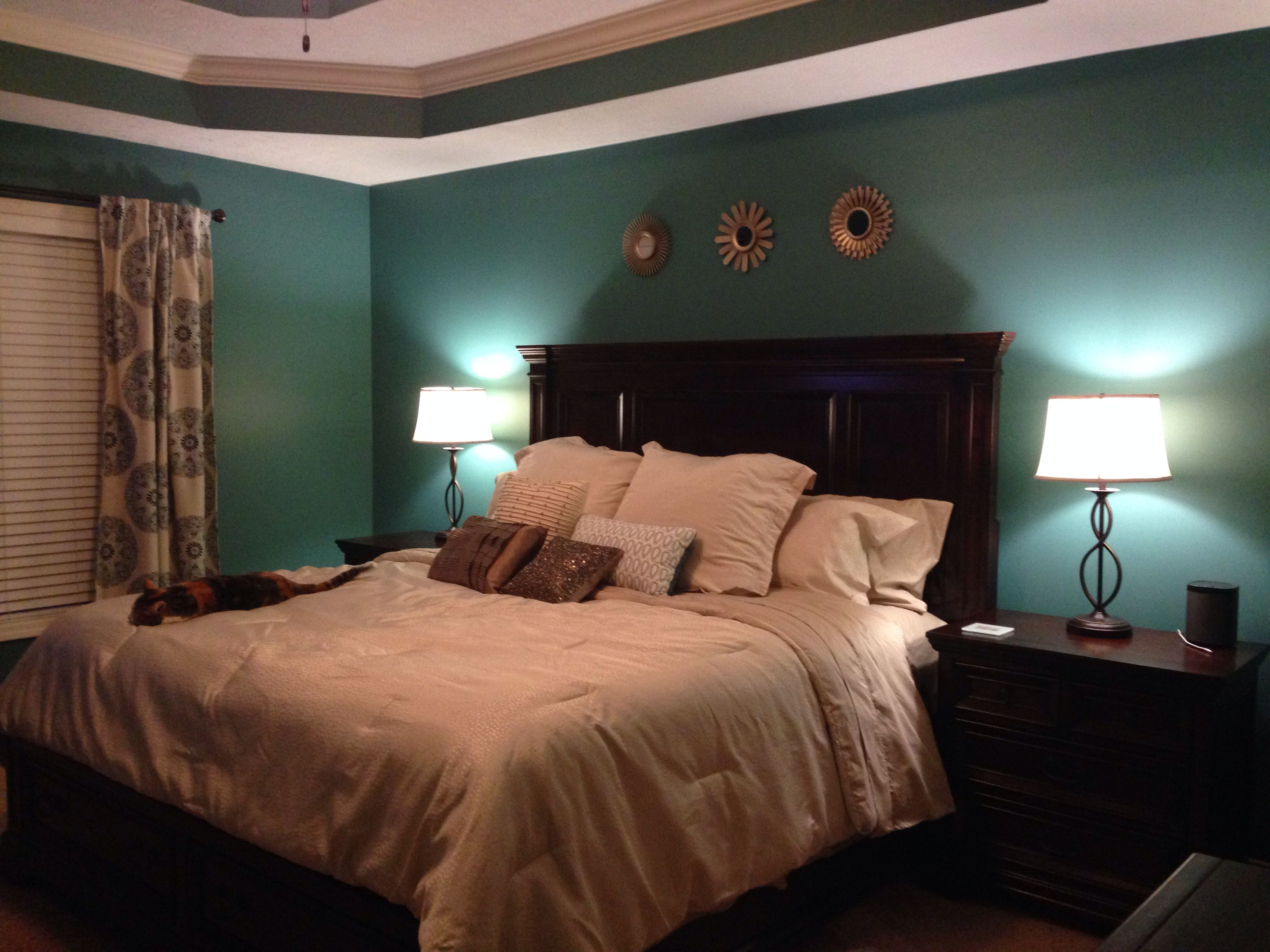 This our bedroom after the makeover. We used Valspar Liquid Jade