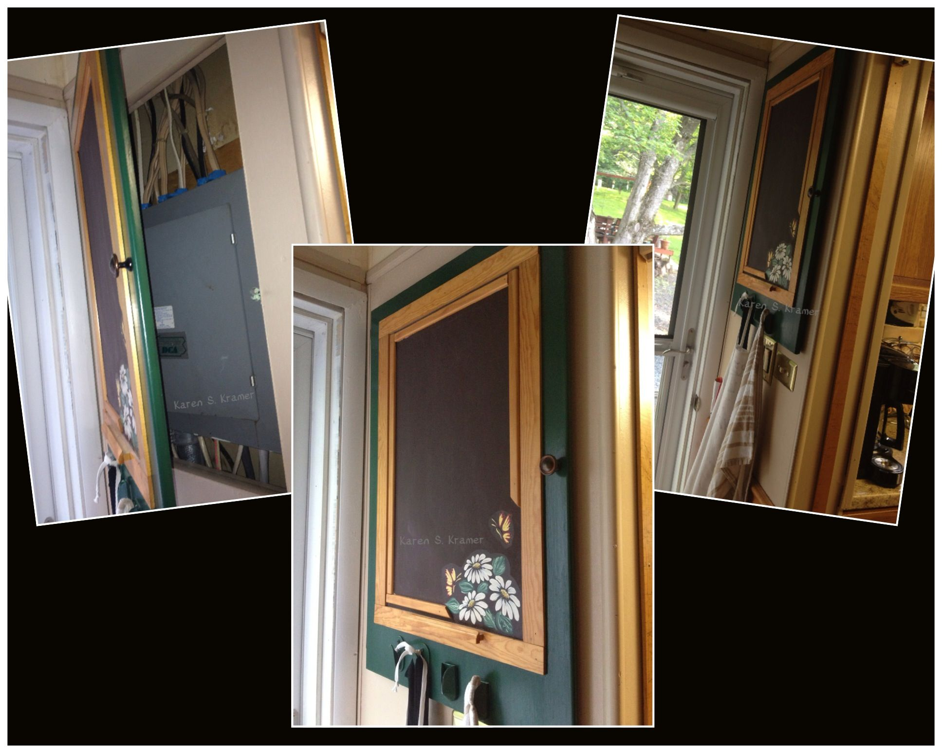 Have an ugly door covering your electric panel box? I painted mine a forest  green