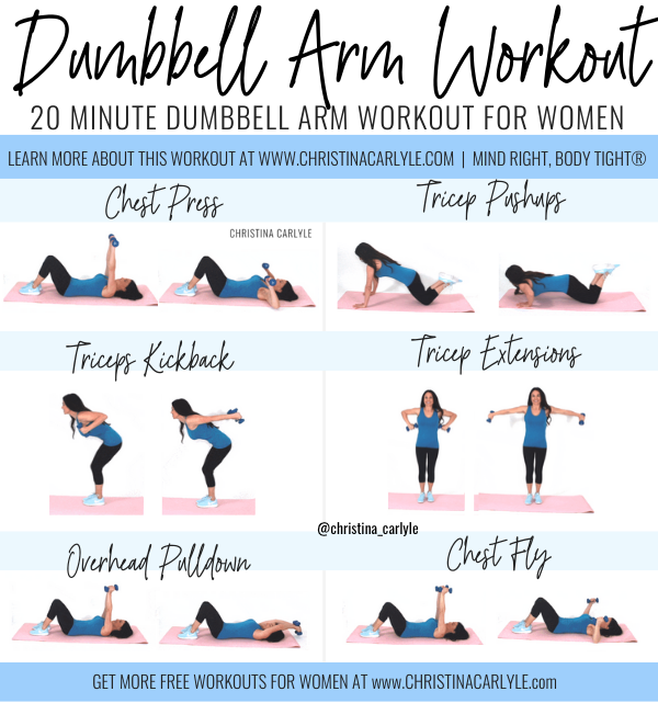 Dumbbell Arm Workout for tight toned arms by fitness trainer Christina Carlyle. christinacarlyle.......