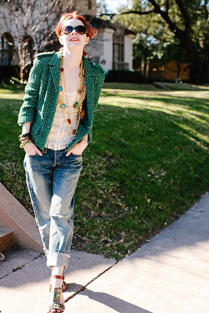 9eca506e8013 Next is a emerald tweed epaulette Chanel jacket, worn with the Chimala jeans,  a lace camisole, vintage jewel necklace, enamel bracelets, and Dries Van  Noten ...