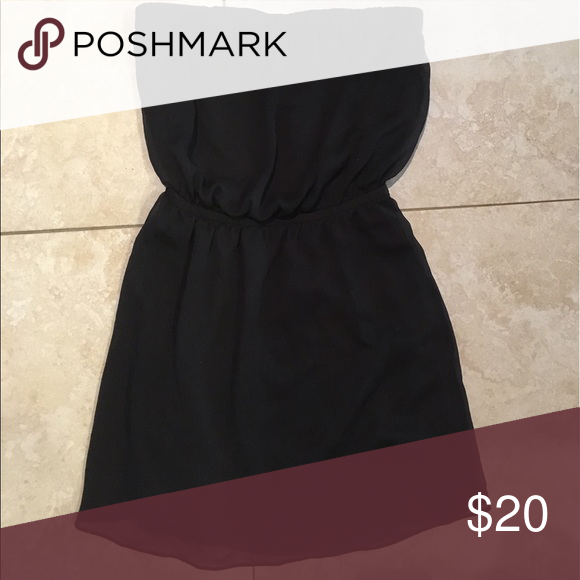 bb40431846f Express strapless little black dress Express strapless little black dress.  Elastic waist. Flowy Chiffon style. Express Dresses Strapless