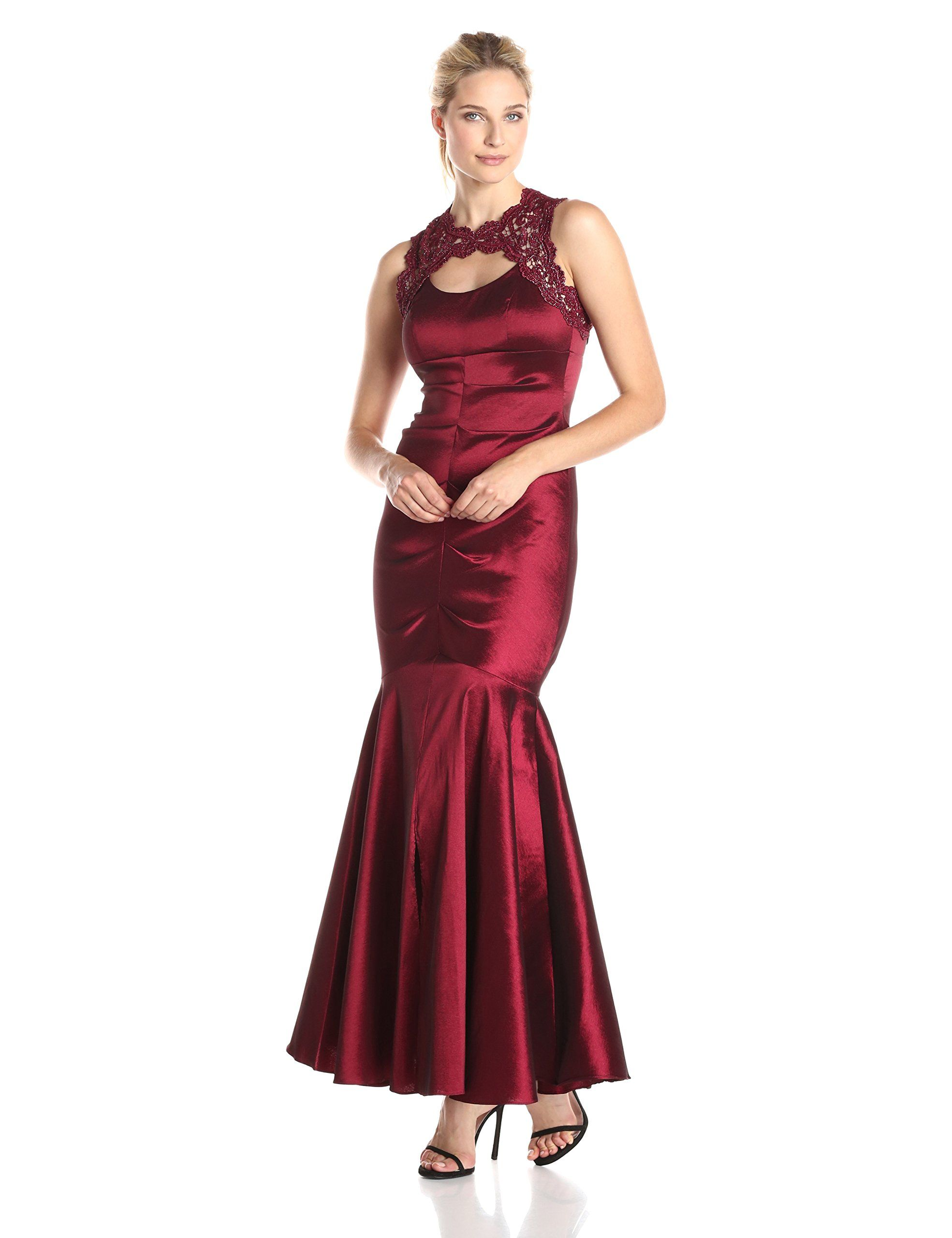 Xscape womenus ruched gown with lace top and cut out garnet