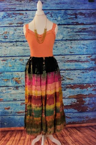Tie Dye Layered Long Skirt - Pink