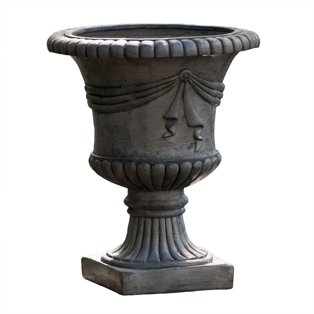 Noble House 20 in. Antique Grey Owen Stone Urn Planter ... on disposable dumpsters home depot, plastic plant pots home depot, outdoor urns home depot, milk paint colors home depot, herb garden home depot, large outdoor planters home depot, pot hangers at home depot, garden bridges home depot, wooden barrels at home depot, flower pot home depot, fireplace home depot, plastic boards home depot, self watering planters home depot,